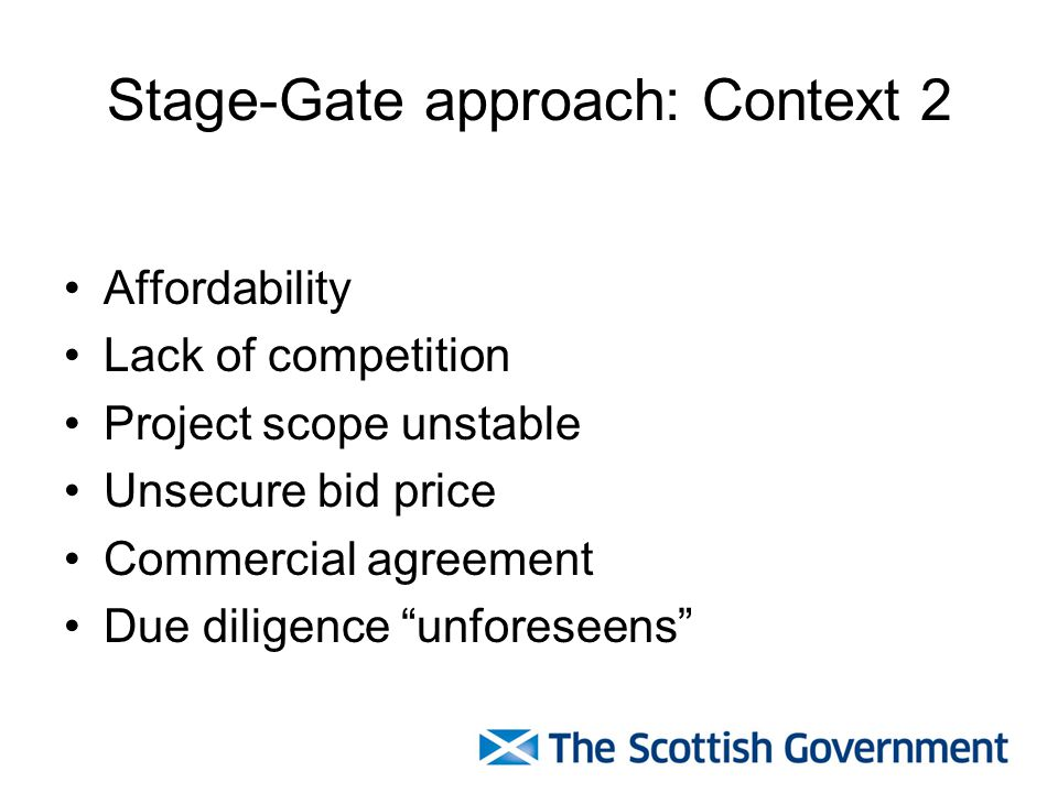 Stage-Gate approach: Context 2