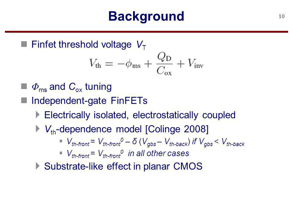 Background Finfet threshold voltage VT Φms and Cox tuning