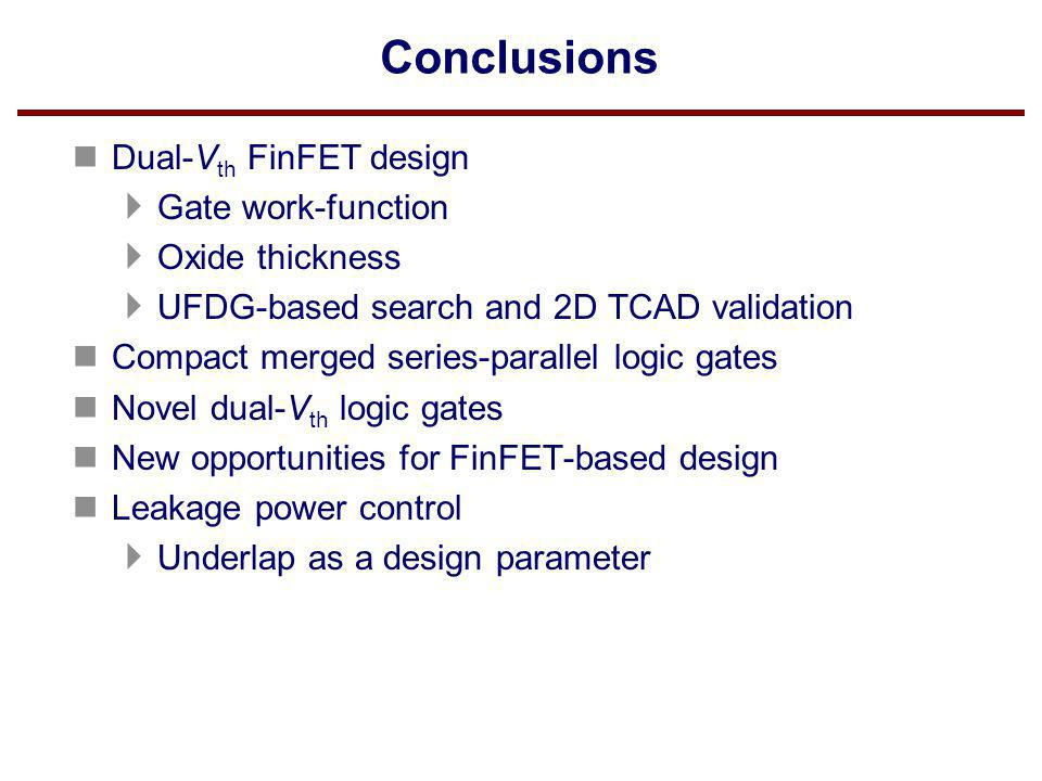 Conclusions Dual-Vth FinFET design Gate work-function Oxide thickness