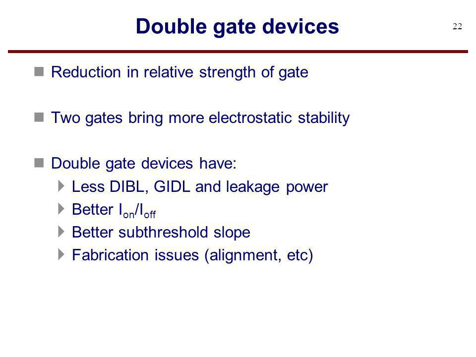 Double gate devices Reduction in relative strength of gate