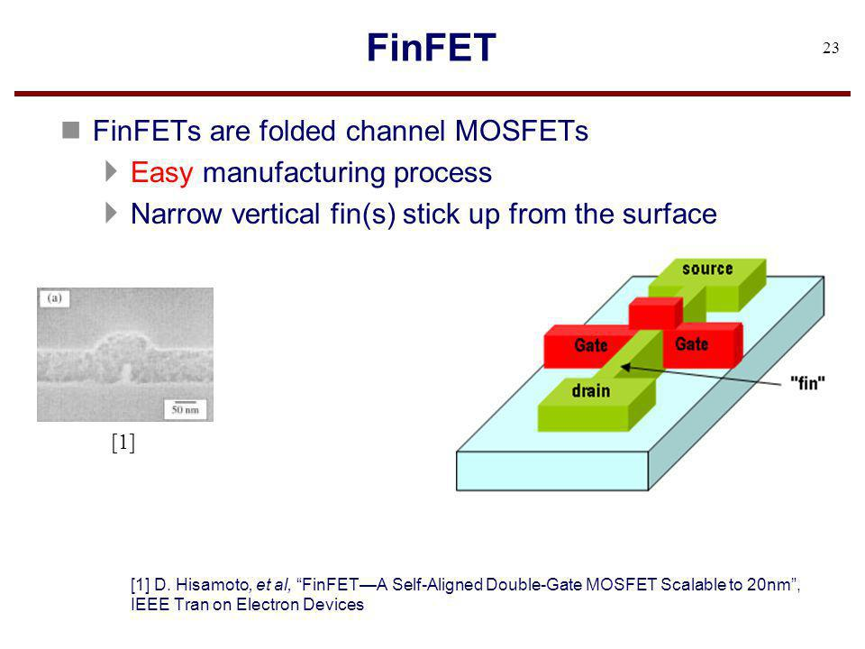 FinFET FinFETs are folded channel MOSFETs Easy manufacturing process