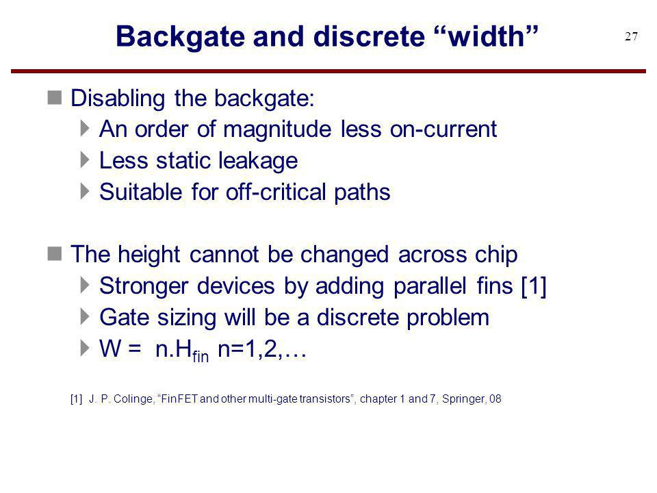 Backgate and discrete width