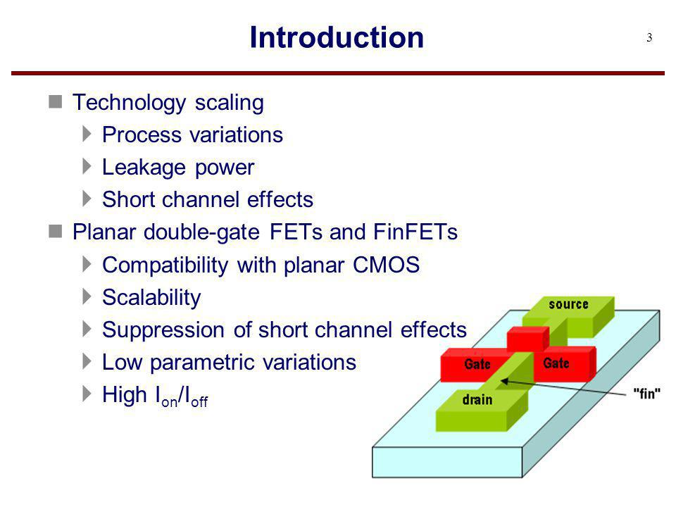 Introduction Technology scaling Process variations Leakage power