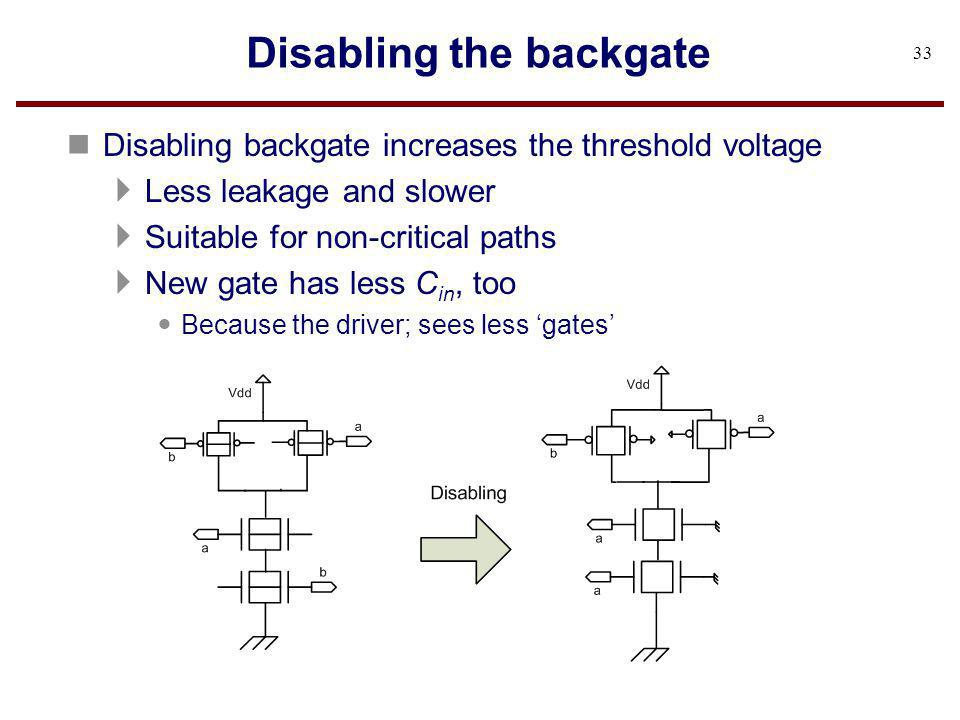 Disabling the backgate