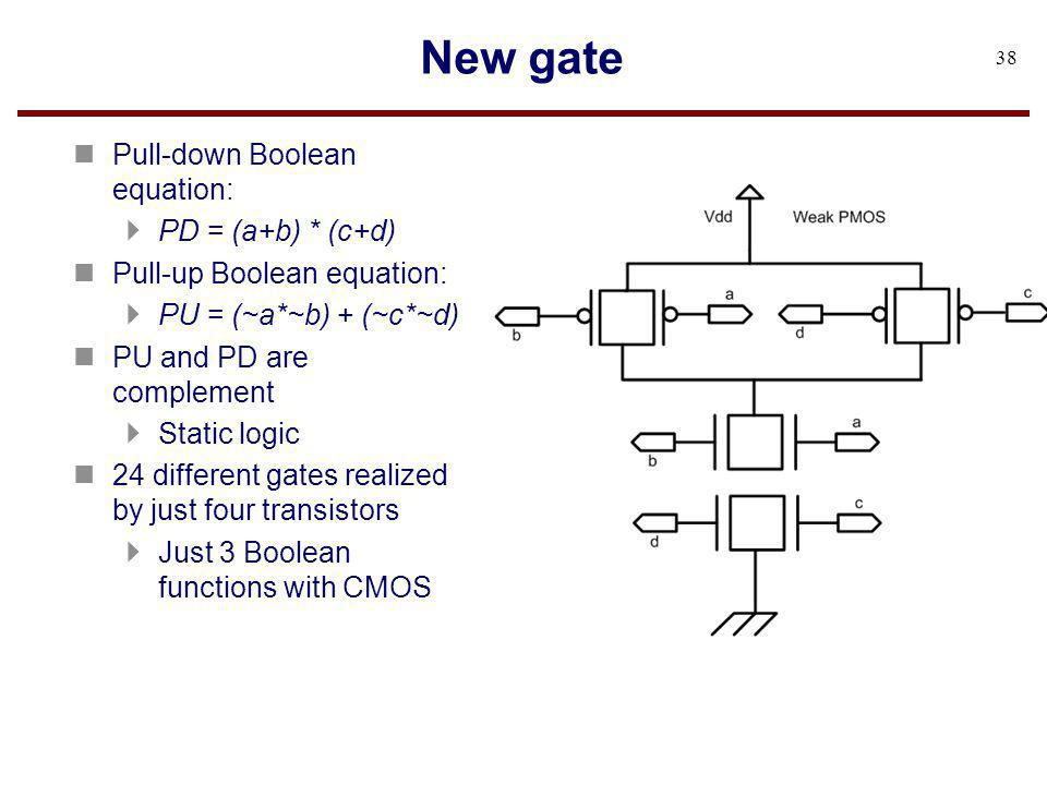 New gate Pull-down Boolean equation: PD = (a+b) * (c+d)