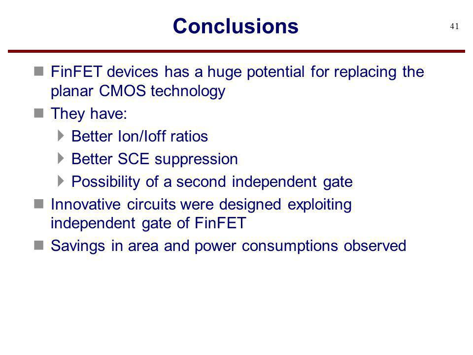 Conclusions FinFET devices has a huge potential for replacing the planar CMOS technology. They have:
