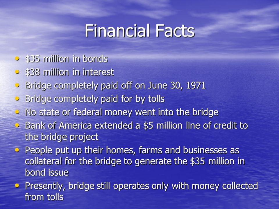 Financial Facts $35 million in bonds $38 million in interest