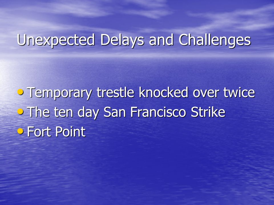 Unexpected Delays and Challenges