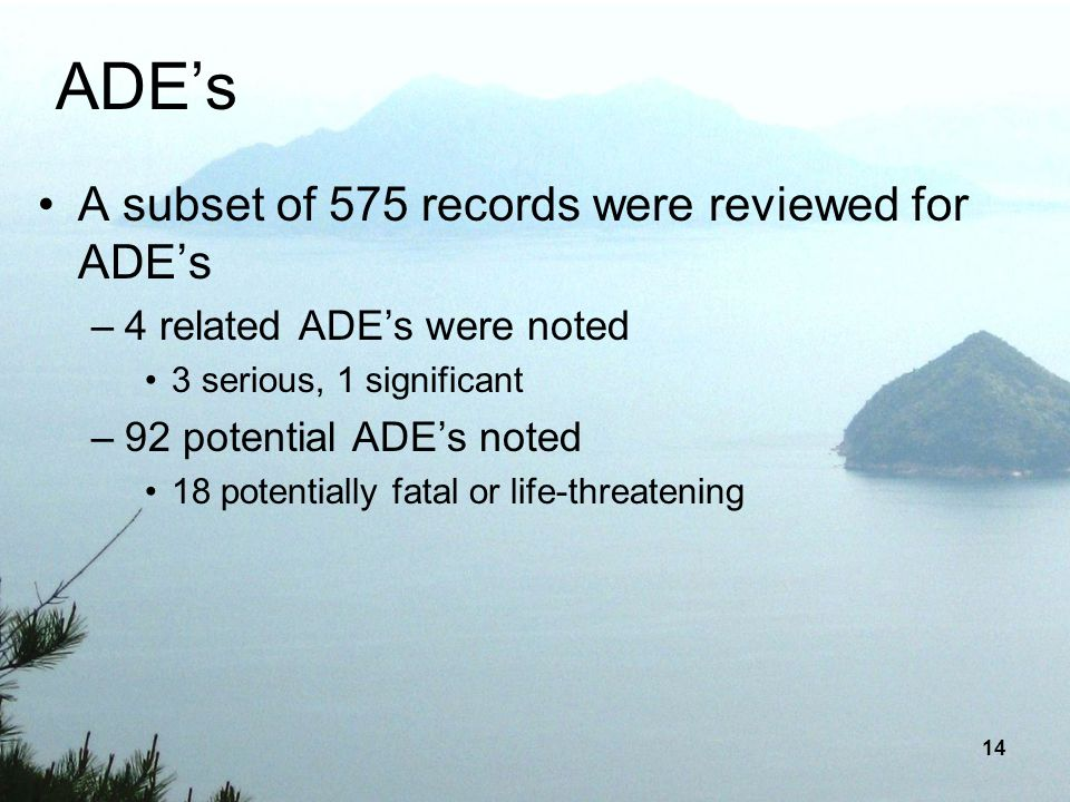ADE's A subset of 575 records were reviewed for ADE's
