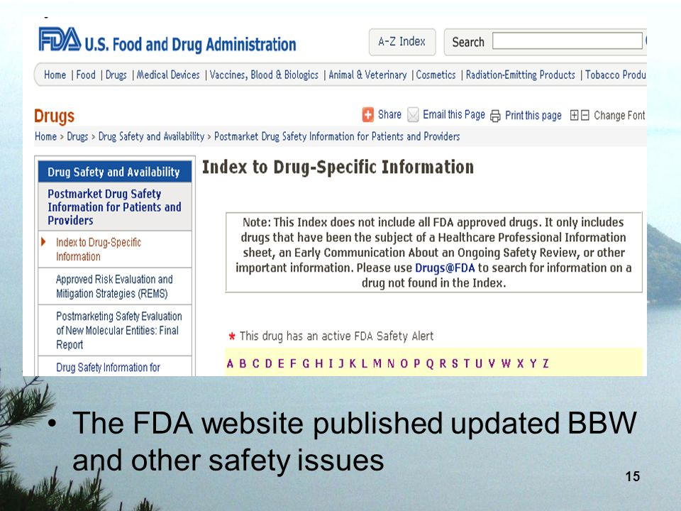 The FDA website published updated BBW and other safety issues