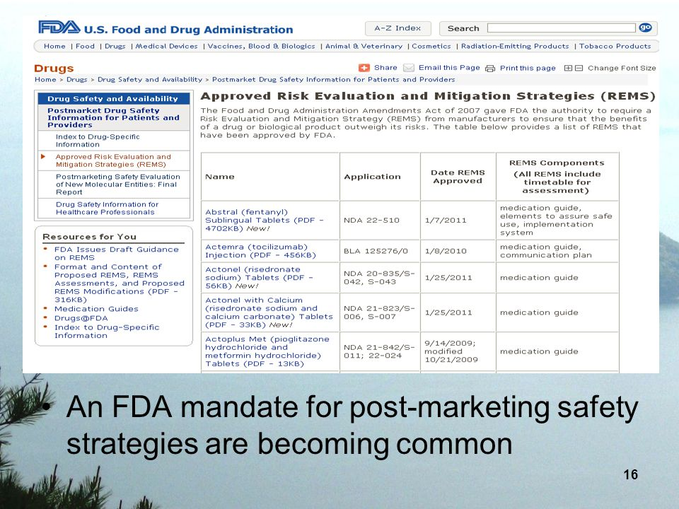 An FDA mandate for post-marketing safety strategies are becoming common