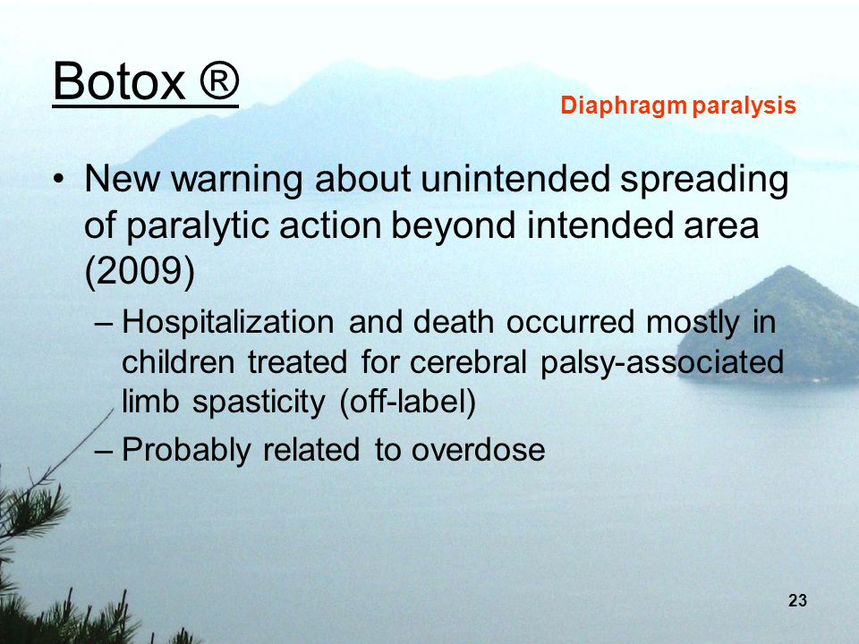 Botox ® Diaphragm paralysis. New warning about unintended spreading of paralytic action beyond intended area (2009)