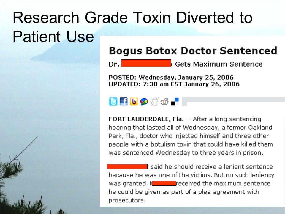 Research Grade Toxin Diverted to Patient Use