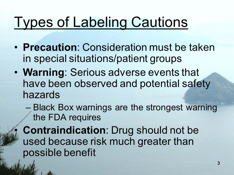 Types of Labeling Cautions