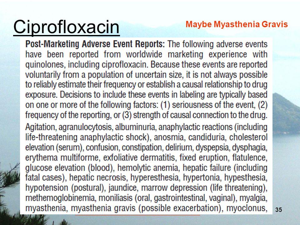 Ciprofloxacin Maybe Myasthenia Gravis