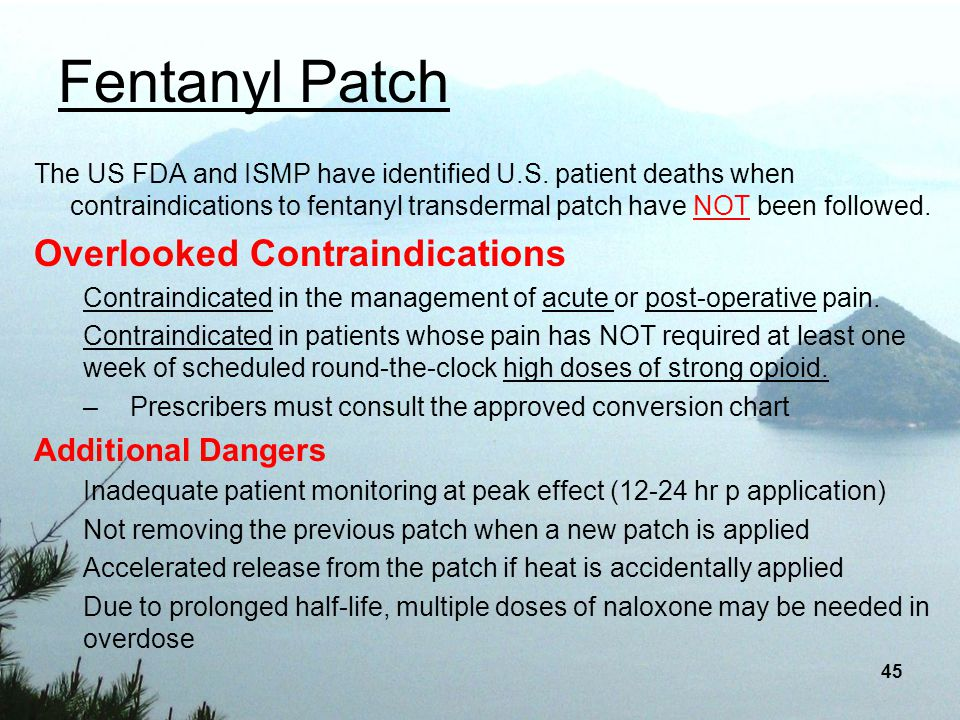 Fentanyl Patch Overlooked Contraindications Additional Dangers