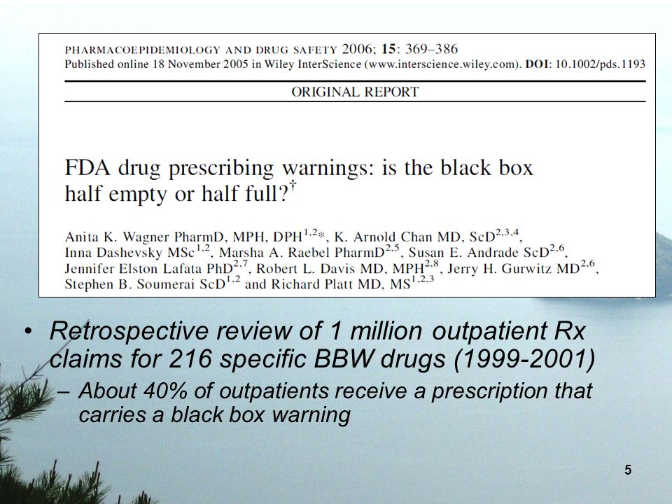 Retrospective review of 1 million outpatient Rx claims for 216 specific BBW drugs (1999-2001)