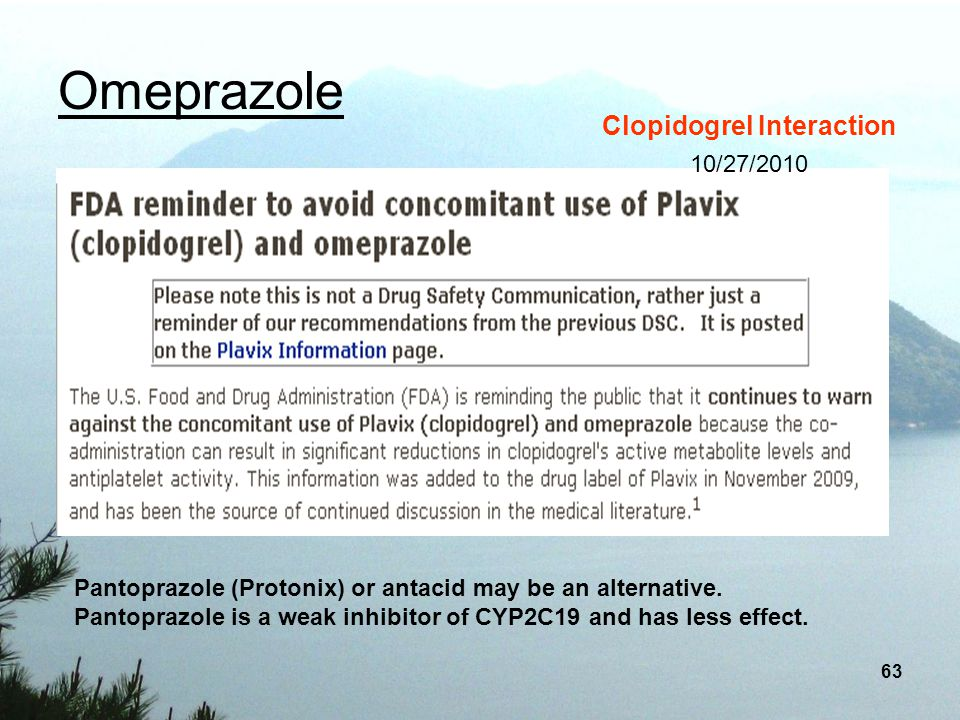 Omeprazole Clopidogrel Interaction 10/27/2010