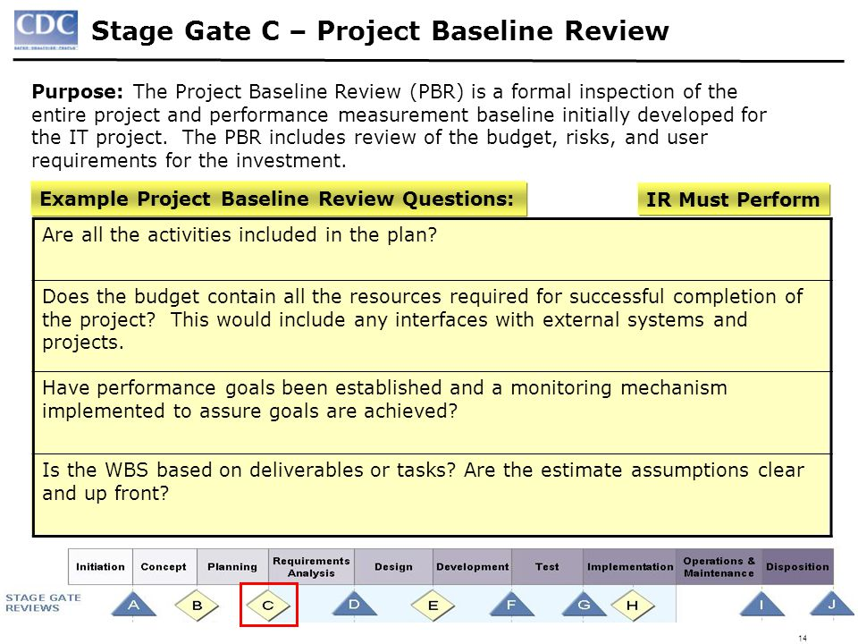 Stage Gate C – Project Baseline Review