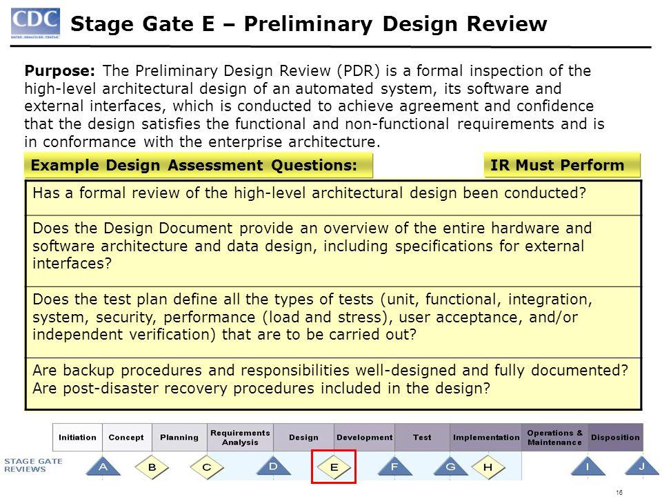 Stage Gate E U2013 Preliminary Design Review