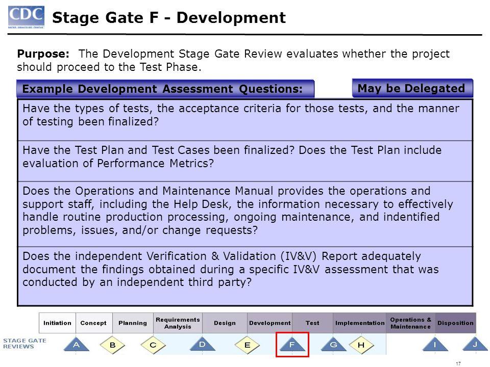 Stage Gate F - Development