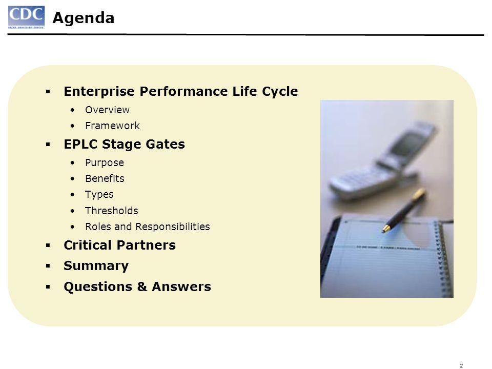 Agenda Enterprise Performance Life Cycle EPLC Stage Gates
