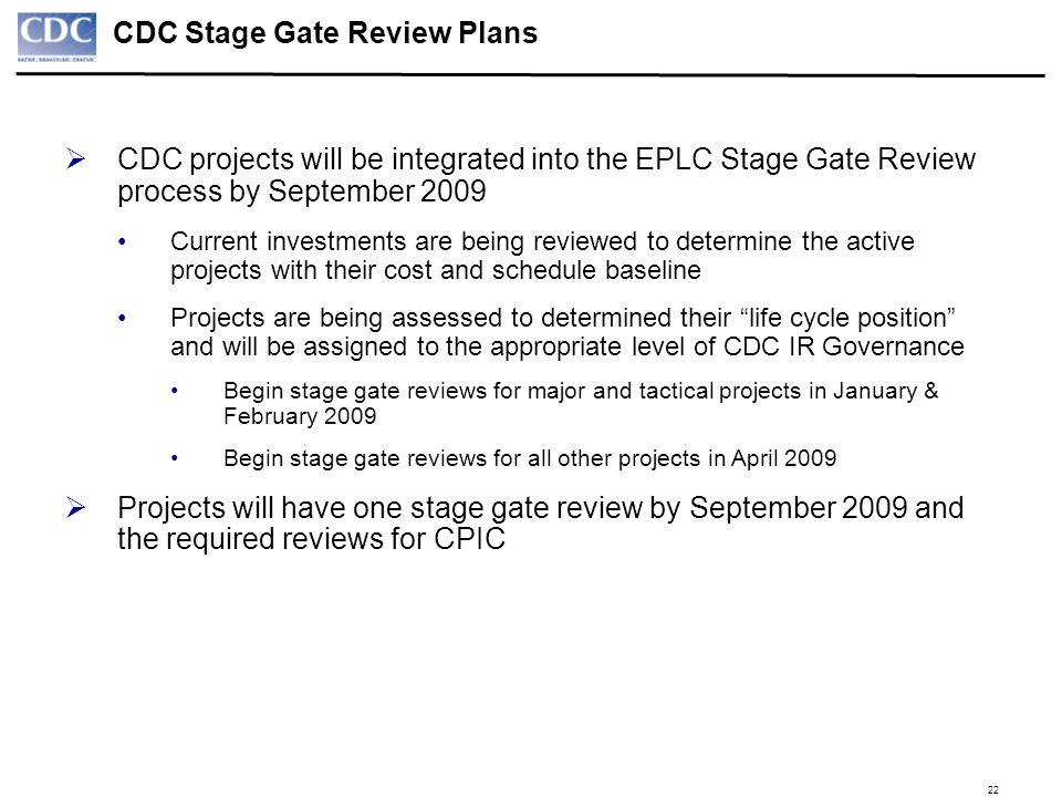 CDC Stage Gate Review Plans