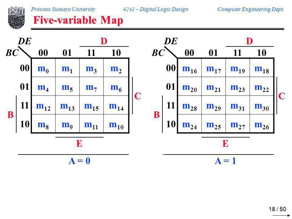 Five-variable Map A = 0 A = 1