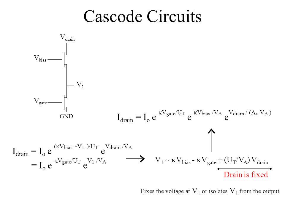 Cascode Circuits Vdrain. Vbias. V1. Vgate. GND. Idrain = Io e kVgate/UT e kVbias /VA eVdrain / (Av VA )