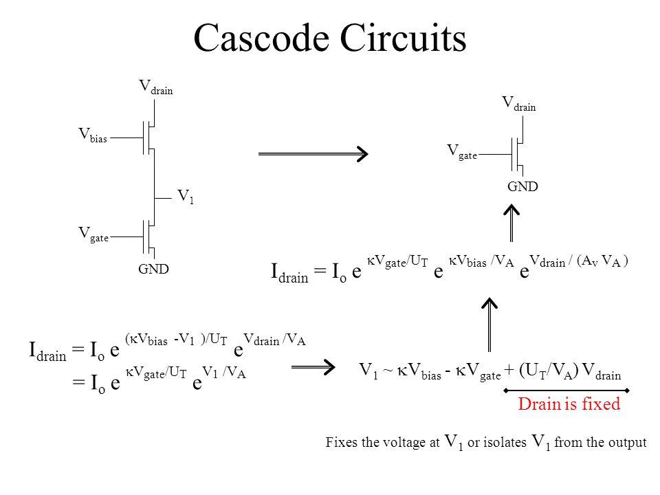 Cascode Circuits Vdrain. Vdrain. Vbias. Vgate. GND. V1. Vgate. GND. Idrain = Io e kVgate/UT e kVbias /VA eVdrain / (Av VA )