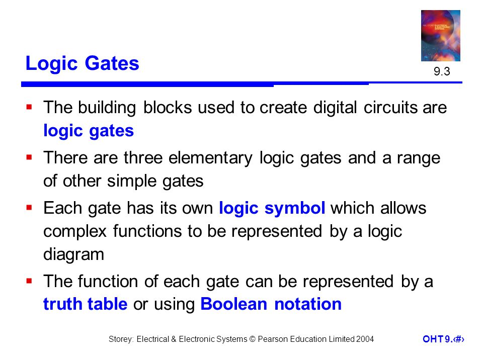 9.3 Logic Gates. The building blocks used to create digital circuits are logic gates.