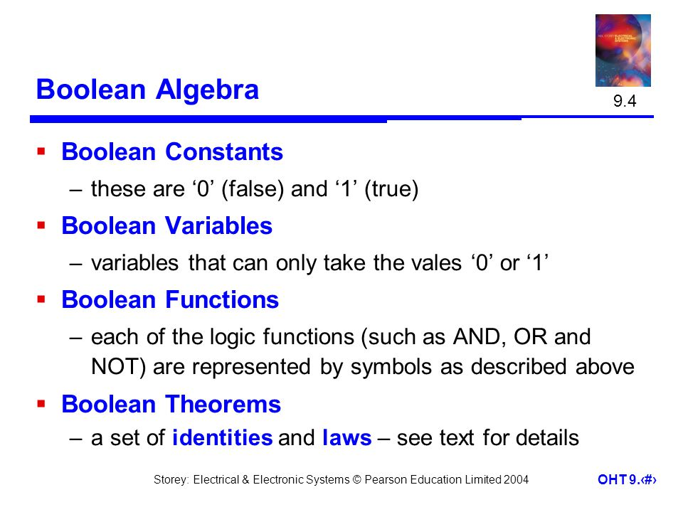 Boolean Algebra Boolean Constants Boolean Variables Boolean Functions
