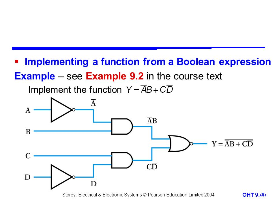 Implementing a function from a Boolean expression