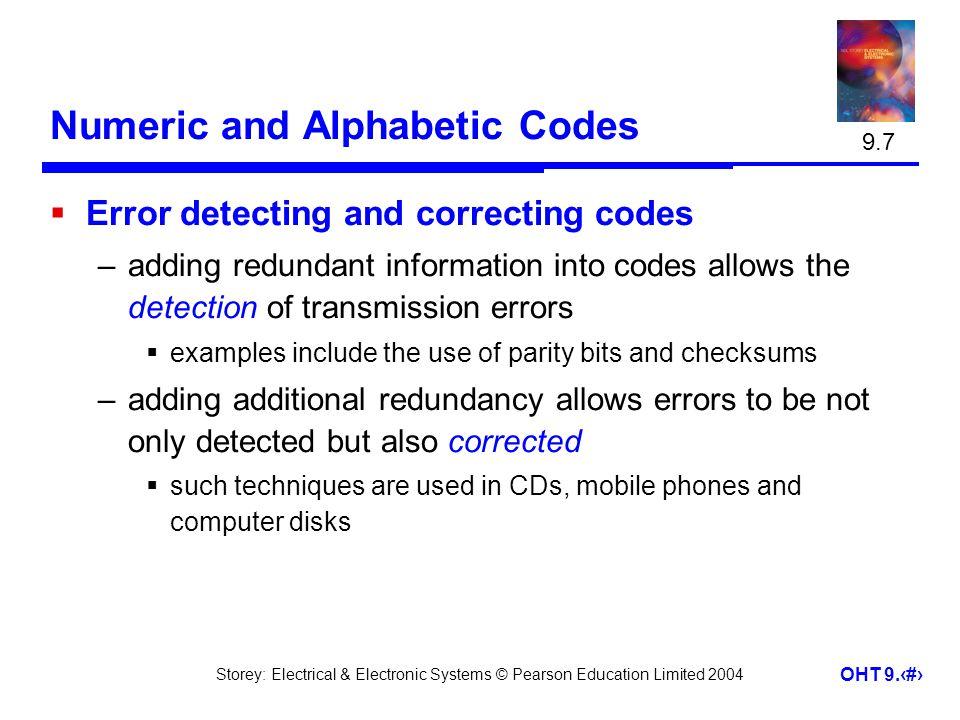 Numeric and Alphabetic Codes