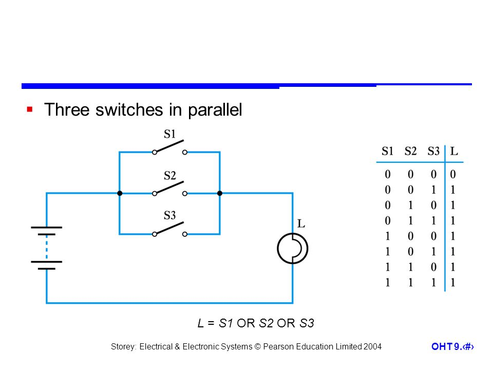 Three switches in parallel