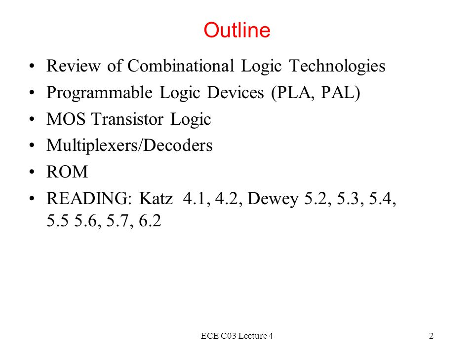 Outline Review of Combinational Logic Technologies