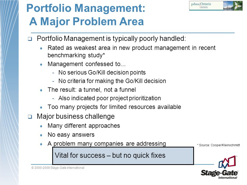 Portfolio Management: A Major Problem Area