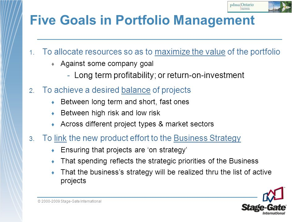 Five Goals in Portfolio Management
