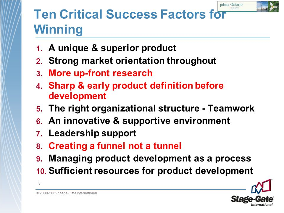 Ten Critical Success Factors for Winning