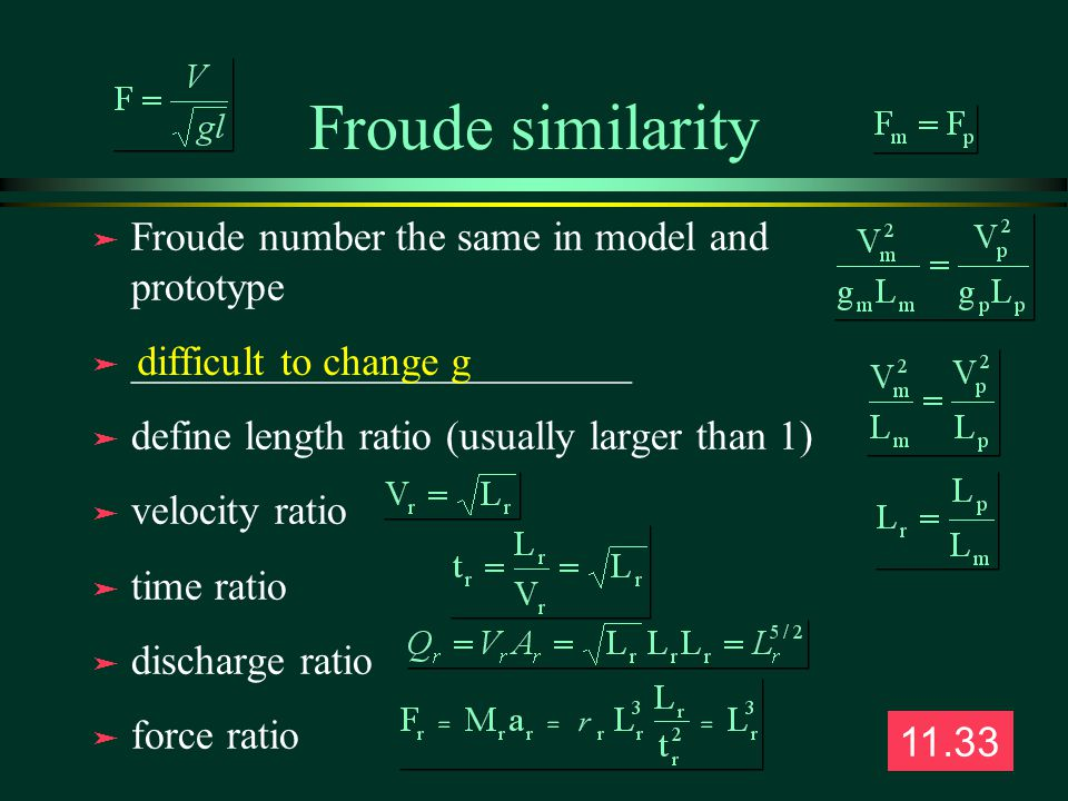Froude similarity Froude number the same in model and prototype
