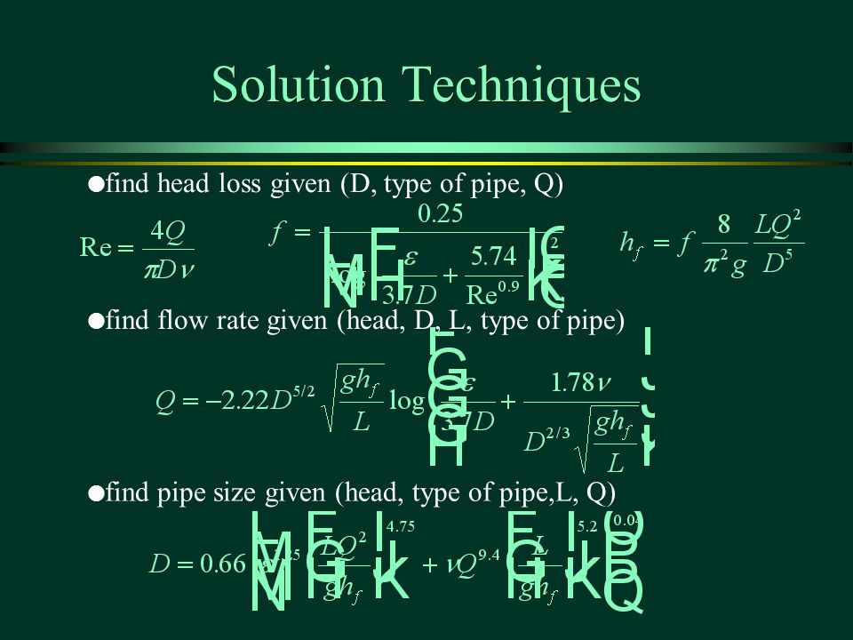 Solution Techniques find head loss given (D, type of pipe, Q)