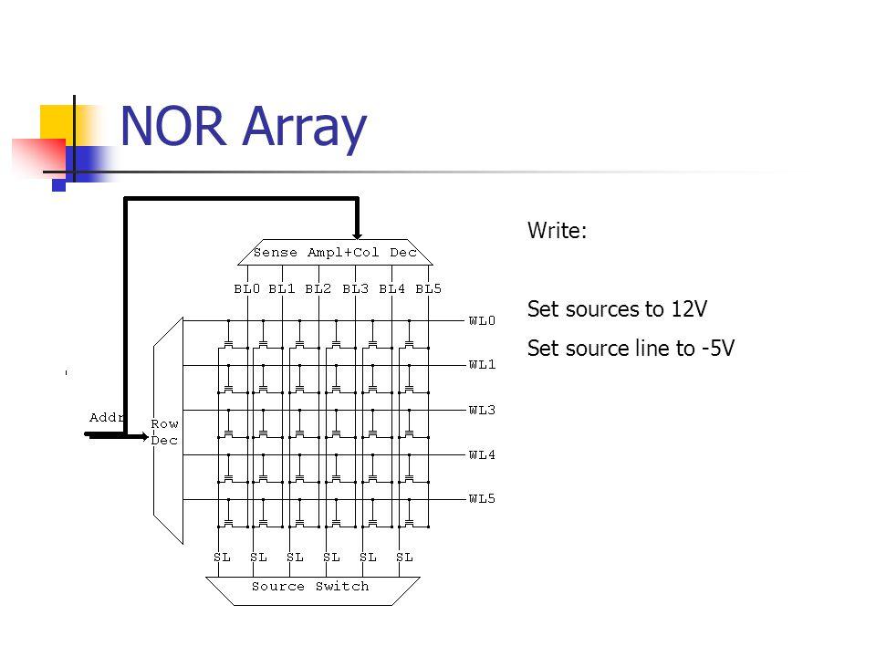 NOR Array Write: Set sources to 12V Set source line to -5V