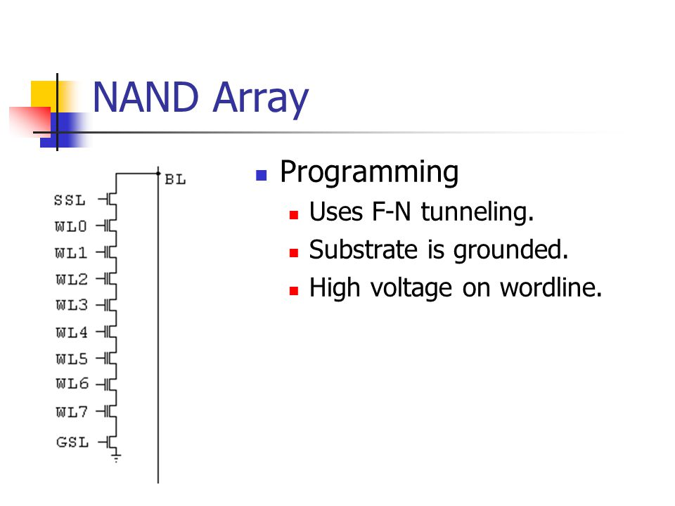 NAND Array Programming Uses F-N tunneling. Substrate is grounded.