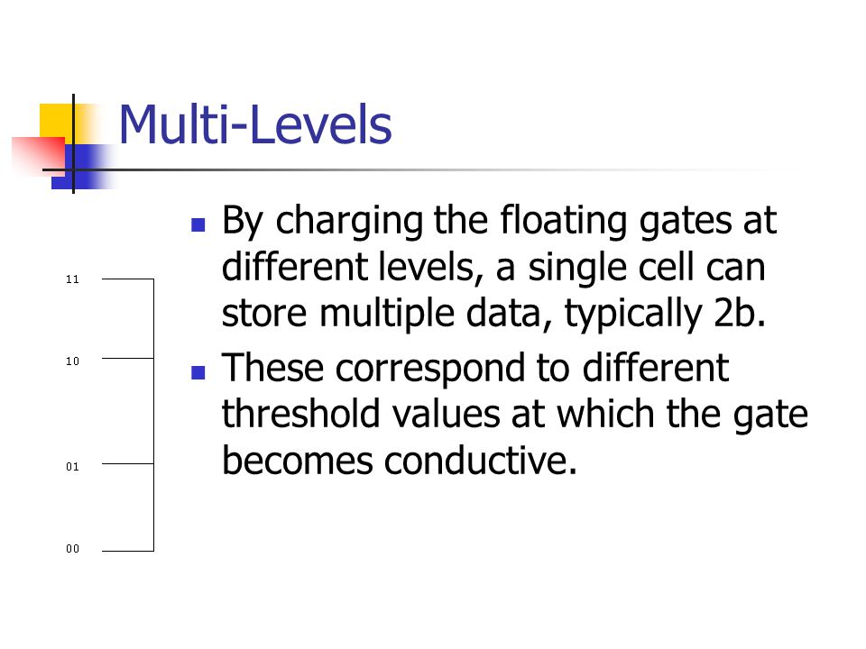 Multi-Levels By charging the floating gates at different levels, a single cell can store multiple data, typically 2b.