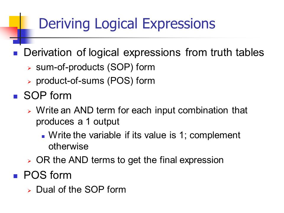 Deriving Logical Expressions