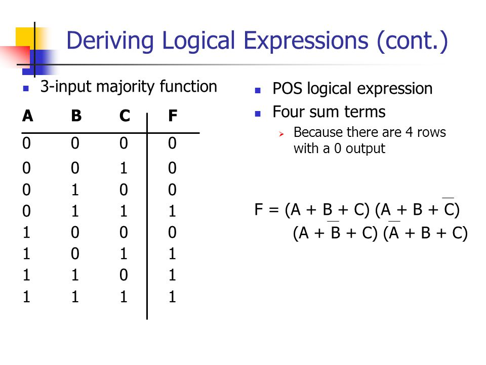 Deriving Logical Expressions (cont.)