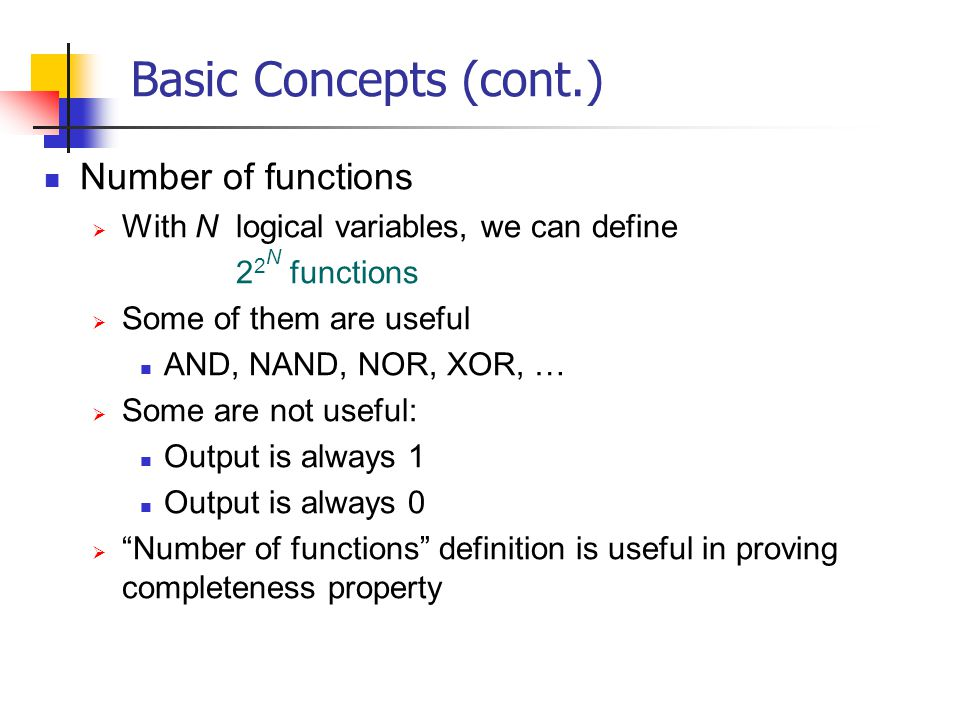 Basic Concepts (cont.) Number of functions