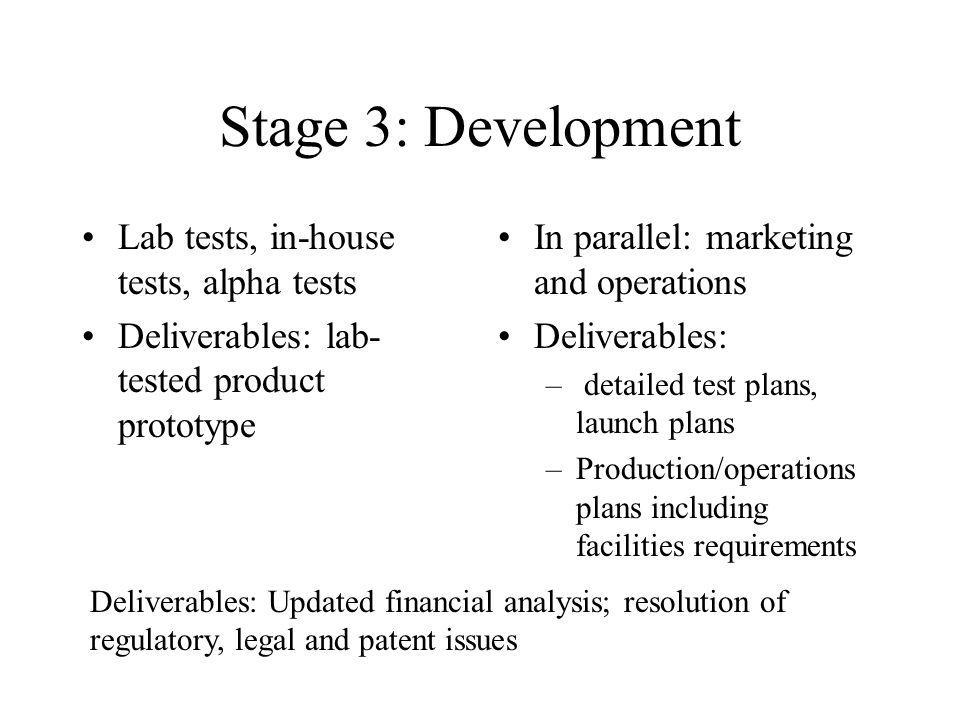 Stage 3: Development Lab tests, in-house tests, alpha tests