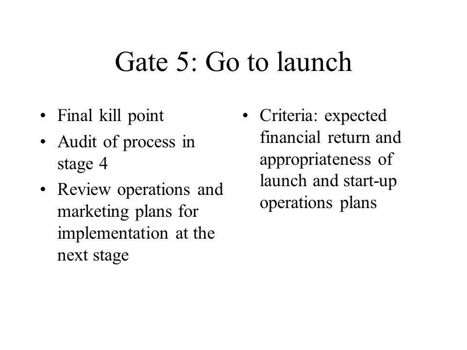 Gate 5: Go to launch Final kill point Audit of process in stage 4
