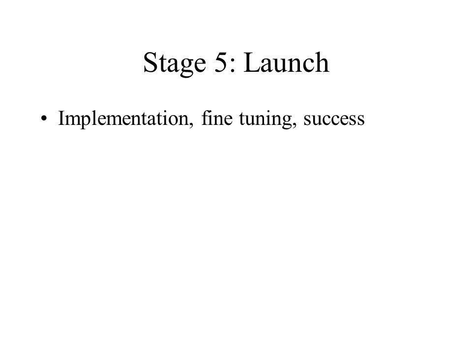 Stage 5: Launch Implementation, fine tuning, success